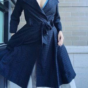 Navy Checkered Fit & Flare Trench Coat 🧥